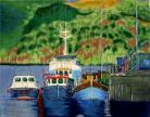 Portree Fishing Boats 11x14