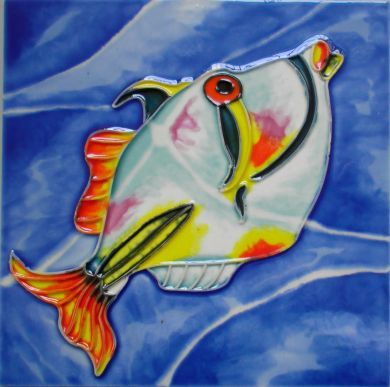 Picasso Fish Picture Tile Skye Tiles Hand Painted
