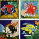 Tropical Fish 4x4 coaster tile set
