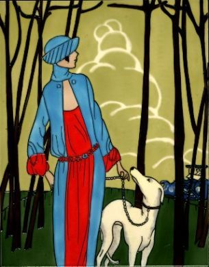 Dog Walk - Art Deco 11x14