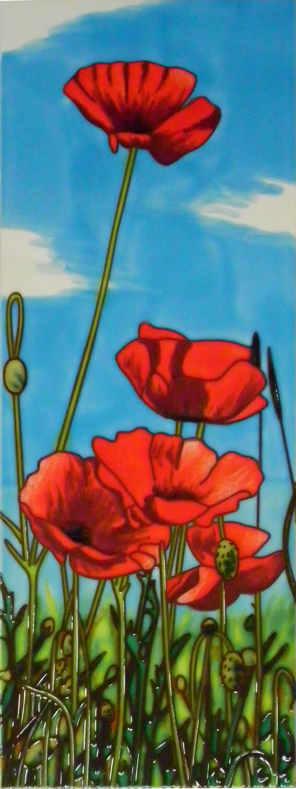 Poppies Hand Painted Tile Skye Tiles Hand Painted